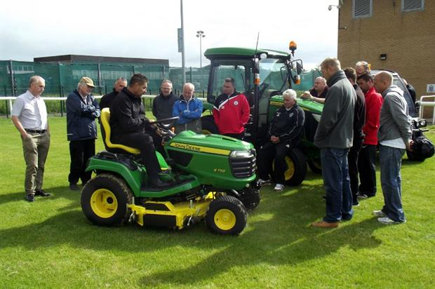 Greenlay's operations manager Mark Thrumble trains volunteer groundsmen. Image: Supplied