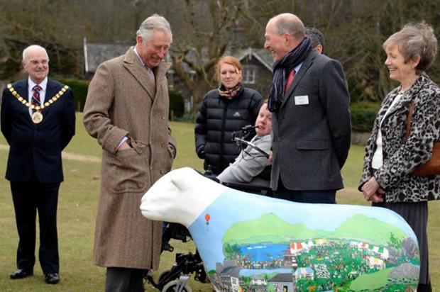 Prince Charles meets Calvert Trust members and a Herdwick sheep. Image: Supplied