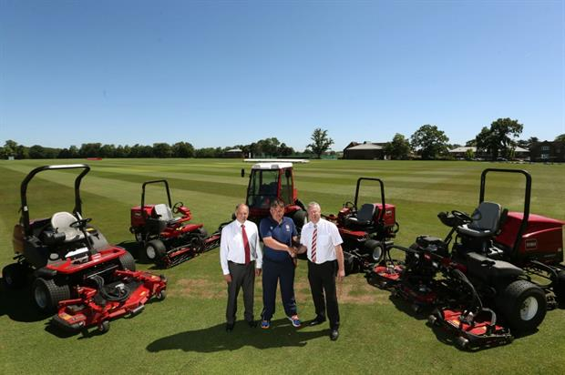 L-R: Toro distributor Lely UK's Jeff Anguige, Radley's Adam King and Lely's Robert Rees. Image: Toro