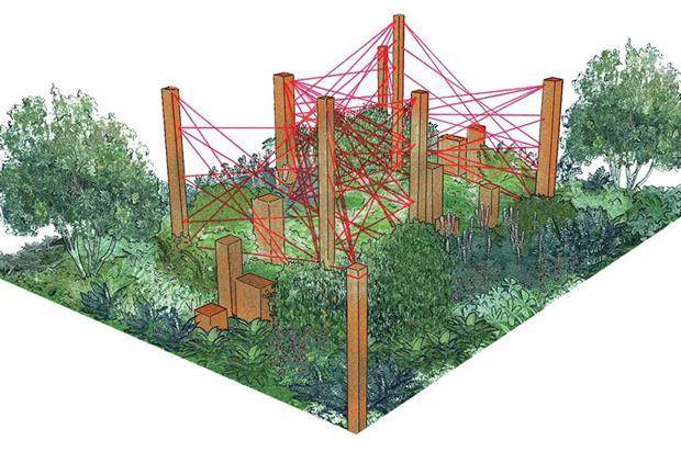 Artist's impression of Robert Barker's Red Thread garden. Image: Supplied
