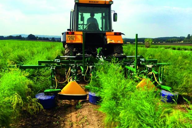 Varidome: band sprayers with shielded design used on asparagus at Sandfields Farm