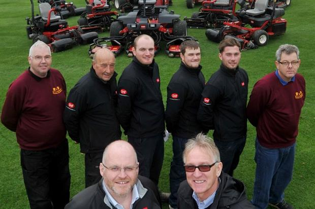 Tydd MD Adrian Hurst, front right, with Lely's Julian Copping and the club's greenkeepers. Image: Supplied