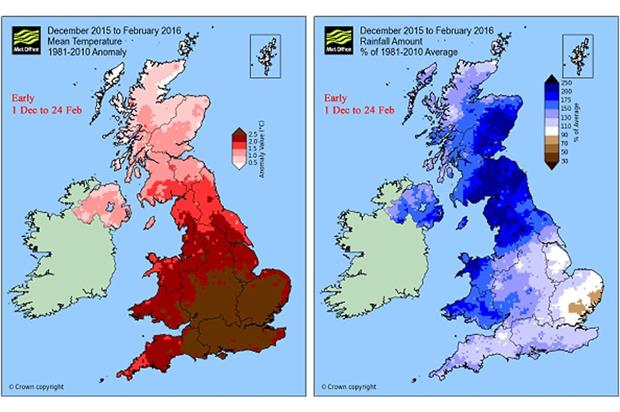 """Temperature (left) and rainfall """"anomalies"""" - image: Met Office"""