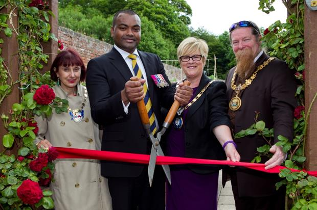 L-R Helen Moonie, Sgt.Johnson Beharry VC, Joan Sturgeon and Jim Todd. Image: ISS