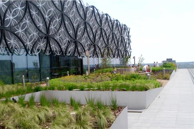 The roof gardens at Birmingham's new library, containing 10,000 Boningale-grown plants. Image: Supplied