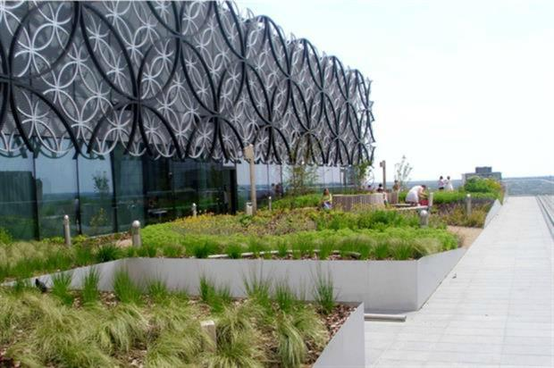 The roof garden at Library of Birmingham has 10,000 Boningale-grown plants. Image: Supplied