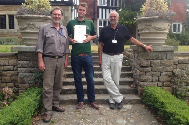 Joshua Noakes (centre) with Merrist Wood College landscape course tutors Tony Begg (L) and Stephen Firth. Image: BALI