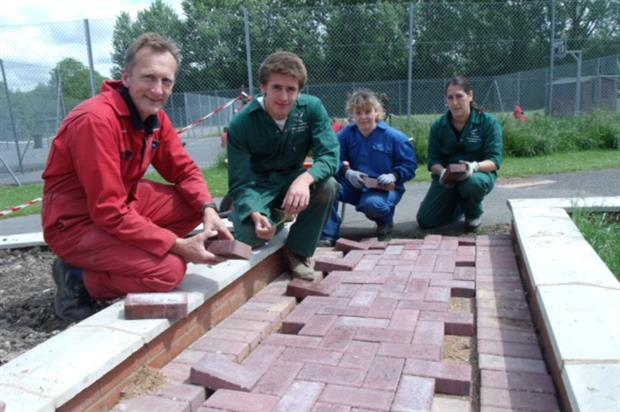 From left, horticulture lecturer Mike Baldwin with students Ben Hudson, Holly Robinson and Begona Blanco Zaragosa. Image: Derby College