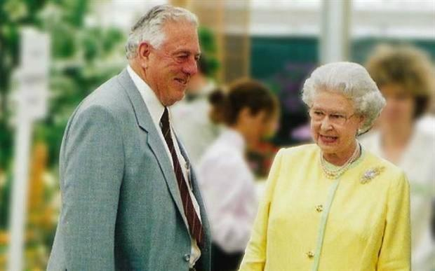 Charles Notcutt with the Queen at Chelsea Flower Show 2002