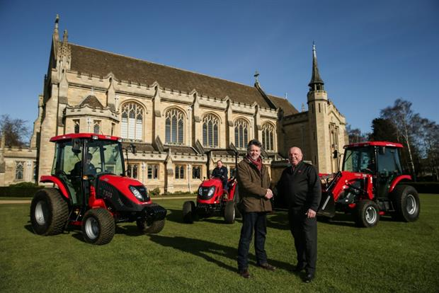Nick Tebbs, head of grounds and gardens at Oundle School, left, with Lely's Stewart Jeffs