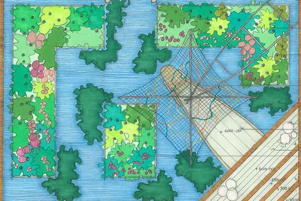 Initial drawing of Sarah Eberle's Viking Cruises garden. Image: Supplied