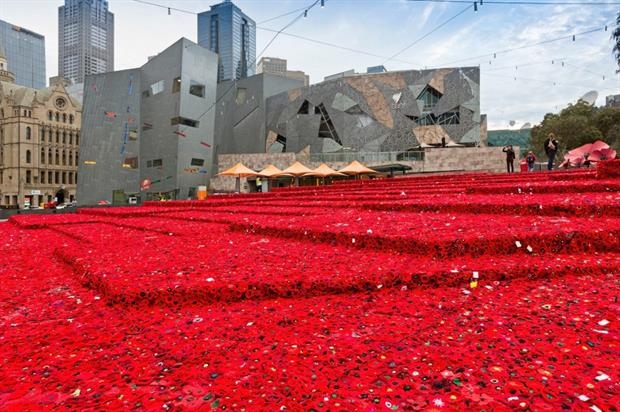 The poppies in Melbourne's Fed Square. Image: Patrick Redmond