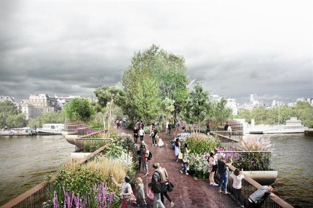 Garden Bridge artist's impression - Supplied: Garden Bridge Trust