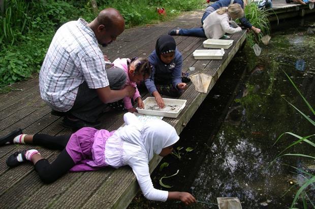 Pond dipping at Gunnersbury. Image: London Wildlife Trust