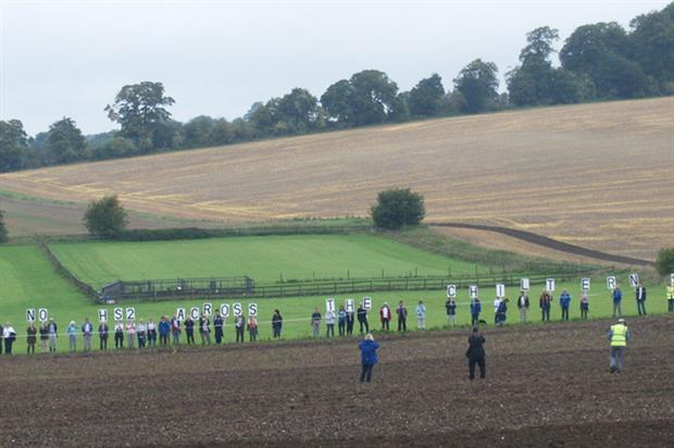 Protestors marking the path of HS2 near Amersham, Buckinghamshire - image: Flickr/djim (CC Licence)