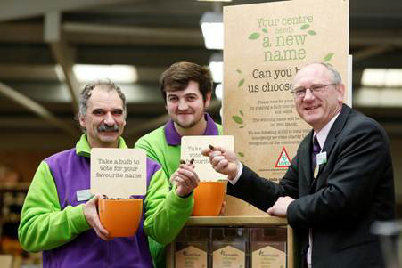 Centre staff members Simon Nagle and Trevor Blake, alongside Garden Centre Manager Ken Dawson