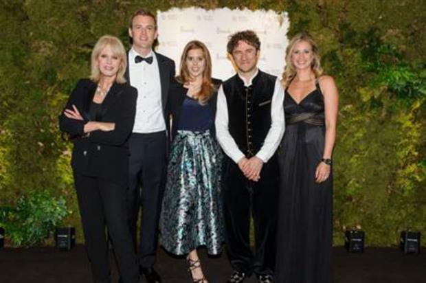 Gala guests Joanna Lumley, Freddie Andrewes, Princess Beatrice, bridge designer Thomas Heatherwick and Holly Branson. Image: Supplied