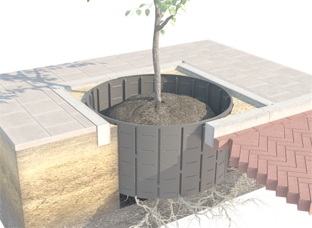 Green-tech tree planting product gtRibbed root panels