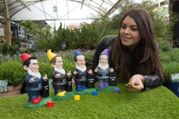 B&Q is to take gnome figuresof the political leaders on tour - image: B&Q