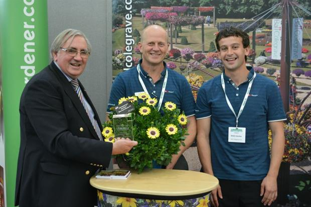 Winners of South West Growers 2014  Best New Plant Introduction - Ball Colegrave L-R Les Lane President of IPPS Stuart Lowen and Martin Gardner