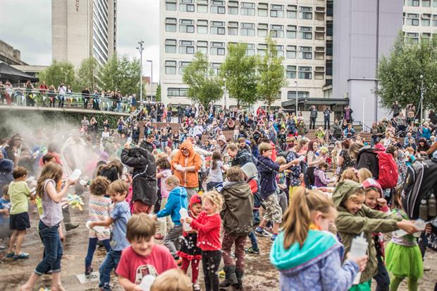 The giant water-fight finale at Manchester's Dig the City festival