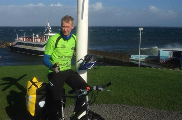 Russell Ball at John O'Groats on his ride last year