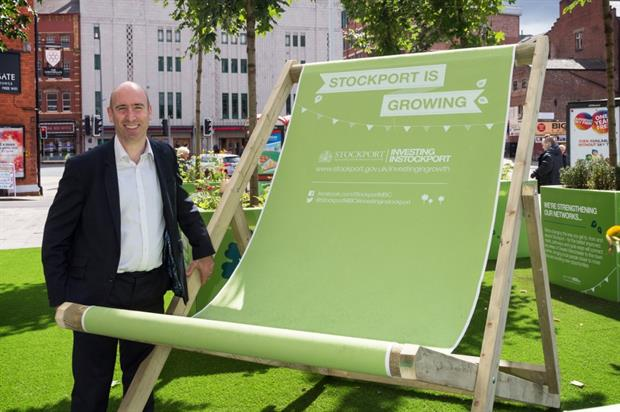 Cllr Iain Roberts at the launch of the pop-up park. Image: Supplied