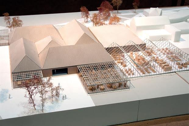 A model of a new Wisley entrance building