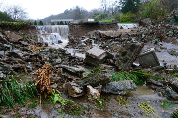 The Upper Valley gardens after the flood. Image: Plas Cadnant