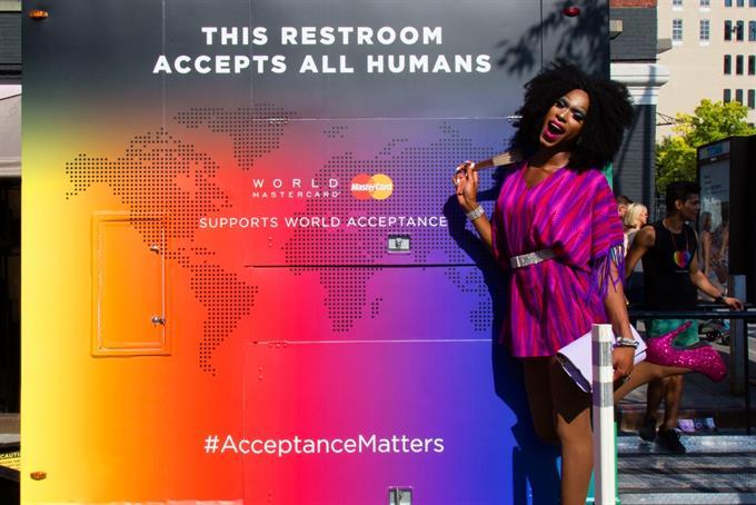 To get into MasterCard's Pride parade bathroom, have a heart