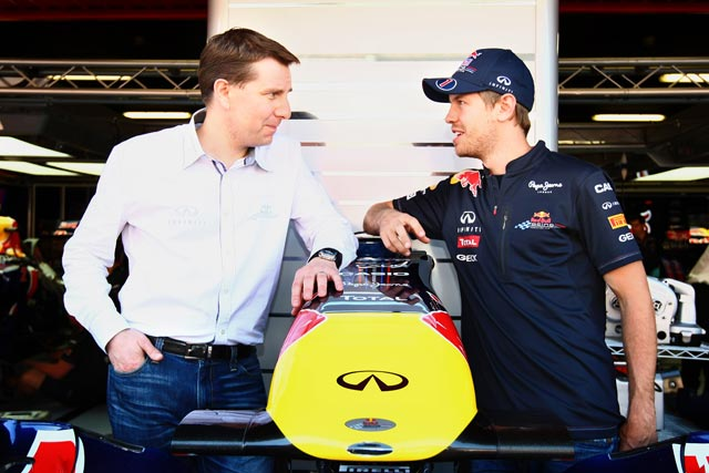 Infiniti deal: Simon Sproule of Nissan Motor Company with Sebastian Vettel