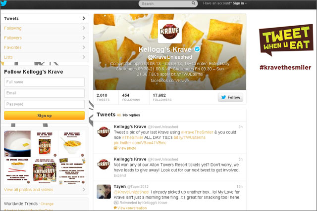 Kellog's Kraves: brand's Twitter channel offers daily challenges in latest campaign
