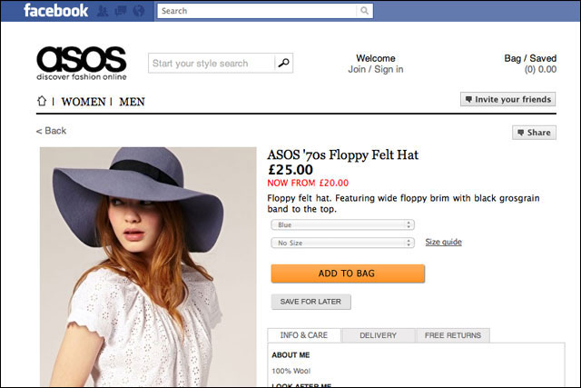 Asos: one of the first brands in Europe to launch an integrated Facebook Store
