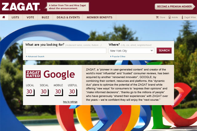 Zagat: restaurant reviews site is bought by Google