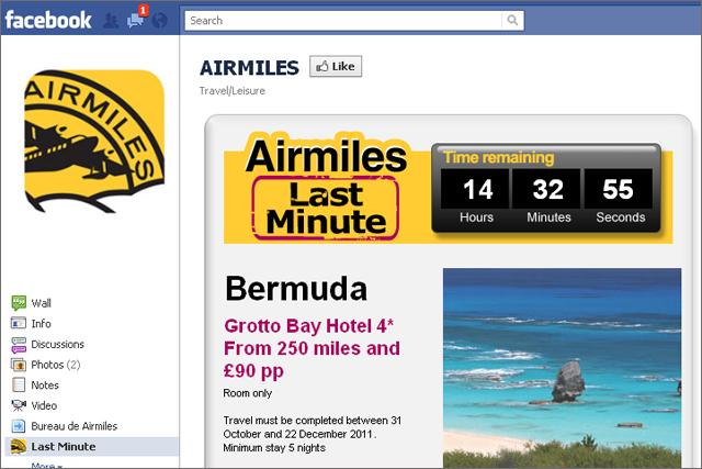 Airmiles: offers daily deals via Facebook