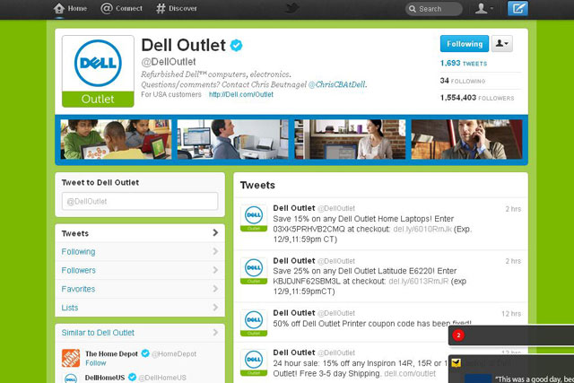 Dell: brand ad page on Twitter