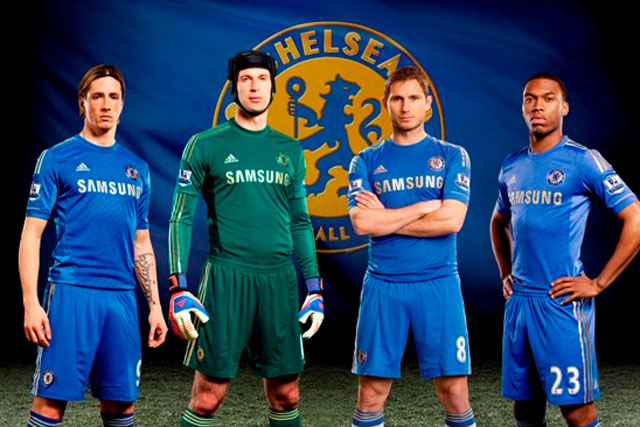 Chelsea: team mates model the 2012/2013 addidas kit