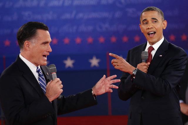 Mitt Romney and Barack Obama during Presidential debate