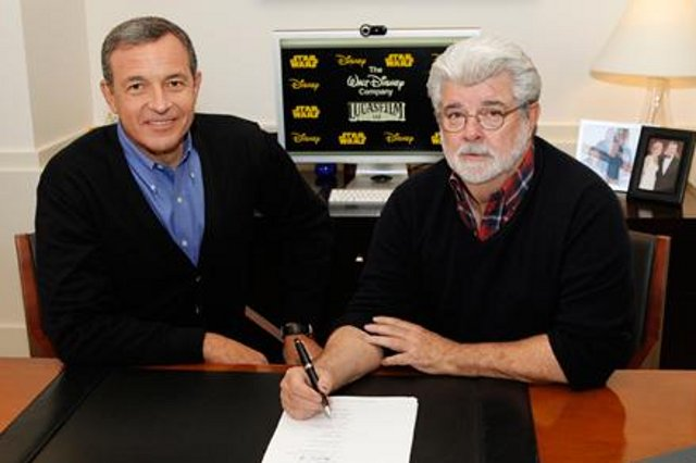 Disney chairman and CEO Bob Iger (l) and George Lucas