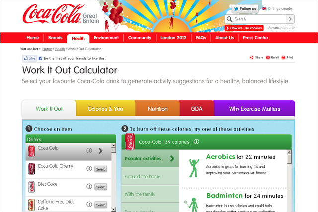 Coca-Cola: releases Work It Out calculator
