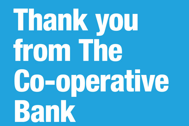 Co-operative Bank: runs thank-you ad in Sunday newspapers