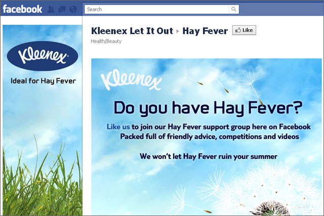 Kleenex: launches hay fever Facebook initiative