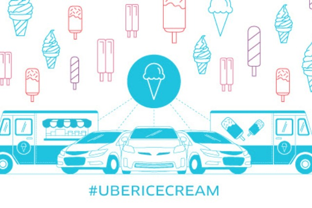 Luxury taxi company Uber taps into people's need for ice cream in the hot weather