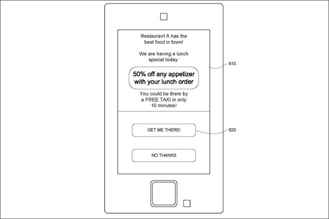 Google: granted patent for mobile ads offering free transport to advertisers' stores