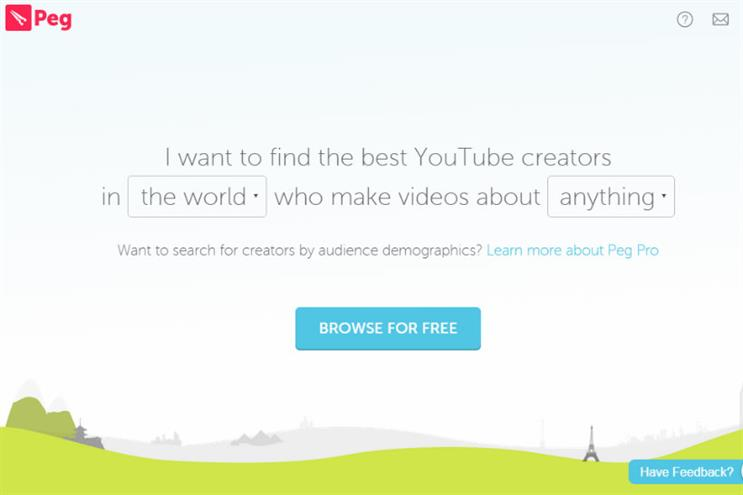 Peg.co: a search engine that connects YouTube stars to brands