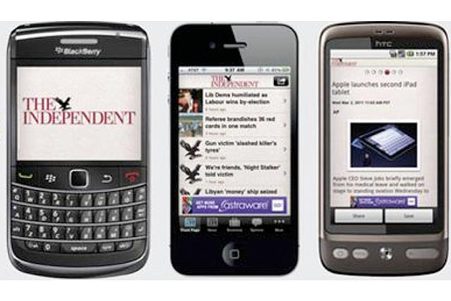 The Independent: apps for  BlackBerry, iPhone and Android smartphones