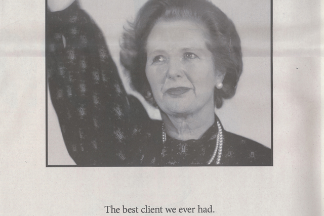 M&C Saatchi: buys Thatcher ad in The Sunday Times