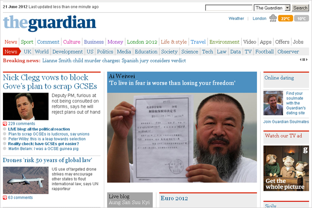 The Guardian: suffers traffic drop