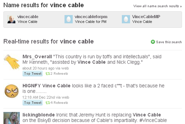 Twitter buzz: mentions of Vince Cable mainly negative