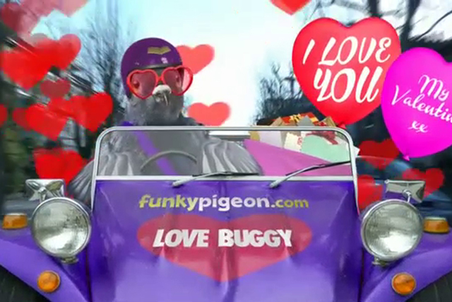 Funkypigeon.com: a simple message dressed up in an irritating, but possibly appropriate way